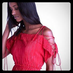 Express lace up cold shoulder unique dress